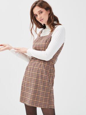 Robe chasuble ceinturee beige femme