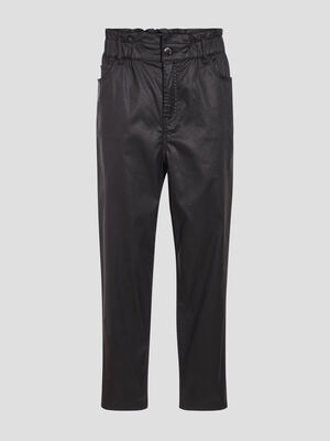 Jeans droit enduit denim noir enduit femme
