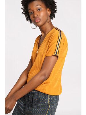 T shirt manches courtes zippe jaune moutarde femme