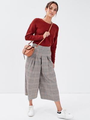 Jupe culotte large avec plis blanc femme