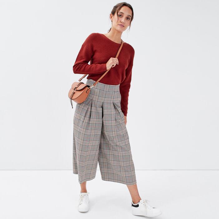 Jupe-culotte large avec plis blanc femme