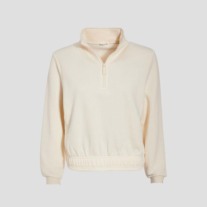 Sweat col montant zippé beige femme