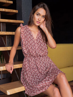 Robe evasee col cache coeur rouge femme