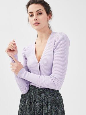Gilet boutonne cotele violet clair femme