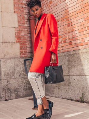 Manteau droit boutonne rouge femme