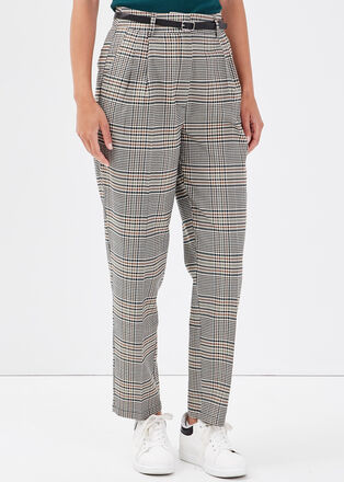 Pantalon slim ceinturee blanc femme
