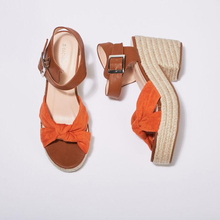 Sandales compensées orange femme