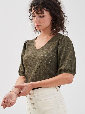 T shirt manches 34 ajoure vert kaki femme