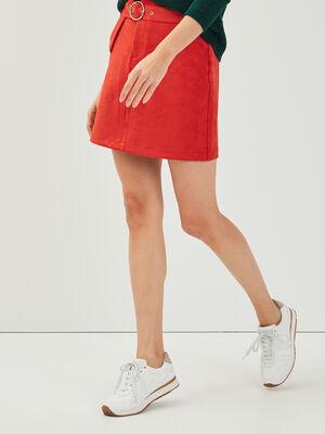 Jupe droite suedine a ceinture rouge femme