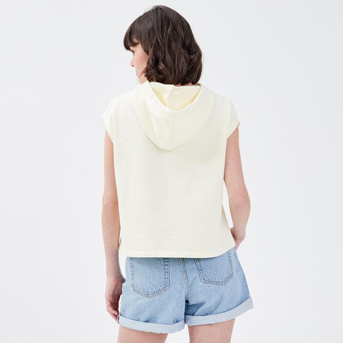 Sweat sans manches jaune pastel femme