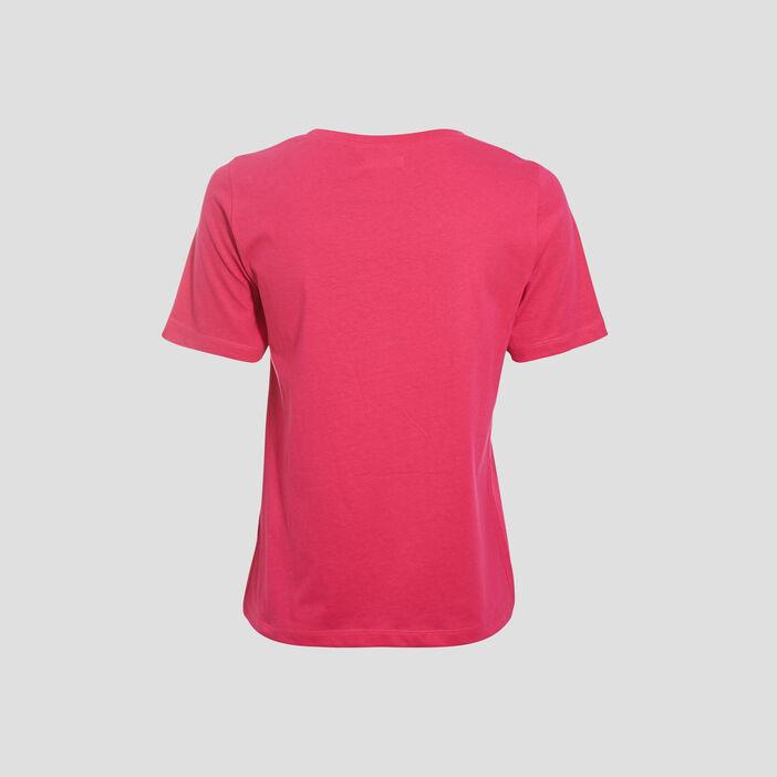 T-shirt manches courtes rose fushia femme