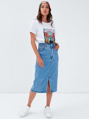 Jupe longue droite en jean denim double stone femme
