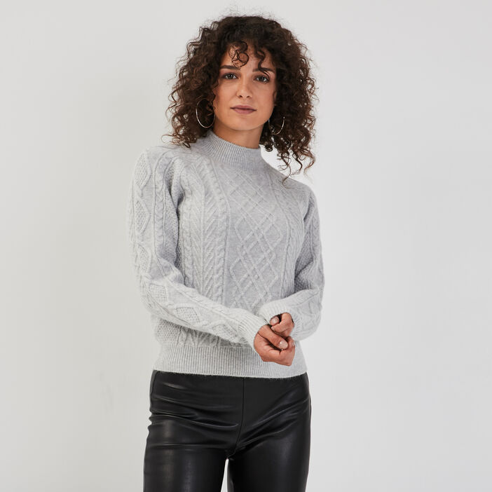 Pull avec torsades gris clair femme