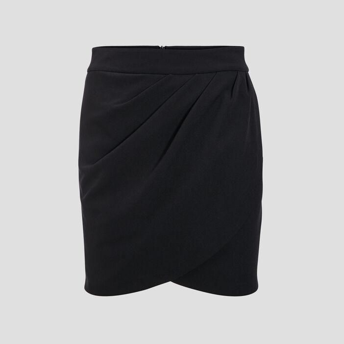 Jupe droite effet drapé noir femme
