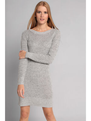 Robe pull manches longues gris clair femme