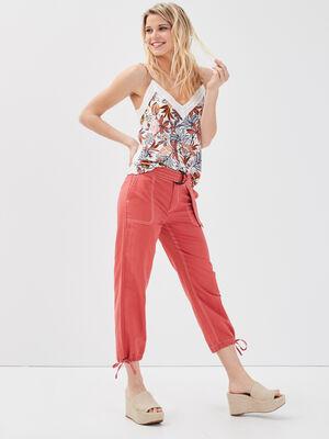 Pantalon 78eme lin rose femme