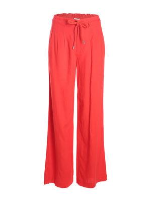 Pantalon fluide lin rouge femme