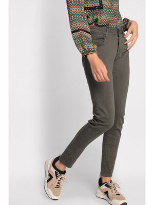 Pantalon skinny details perles vert kaki femme
