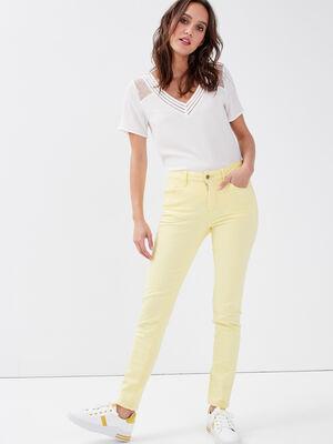 Jeans slim 5 poches jaune pastel femme