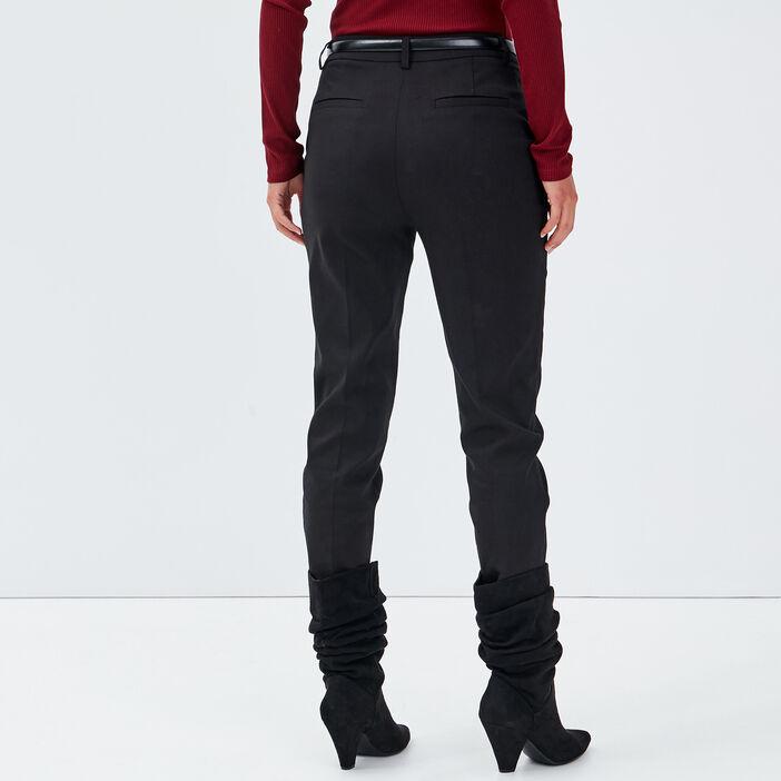 Pantalon cigarette ceinturé noir femme