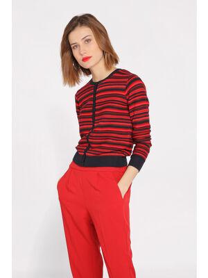 Gilet manches longues rouge fonce femme