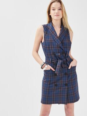 Robe droite ceinturee bleu clair femme