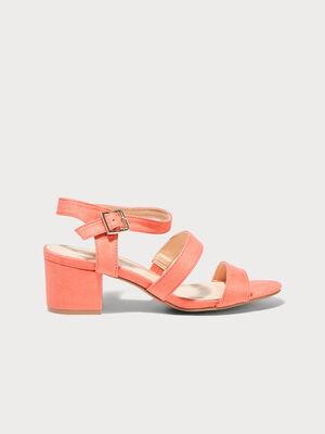 Sandales a talons carres rouge corail femme