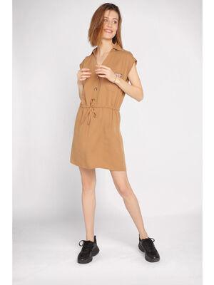 Robe droite avec poche marron femme