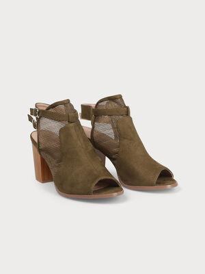 Sandales matiere ajouree talons carres vert kaki femme