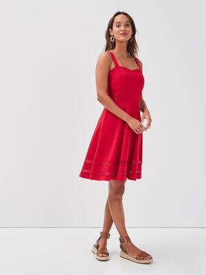 Robe evasee avec bretelles rouge femme