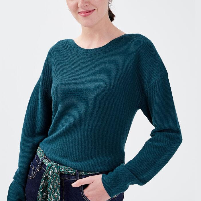 Pull manches longues dos zippé vert foncé femme