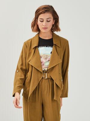 Veste droite avec pans vert olive femme