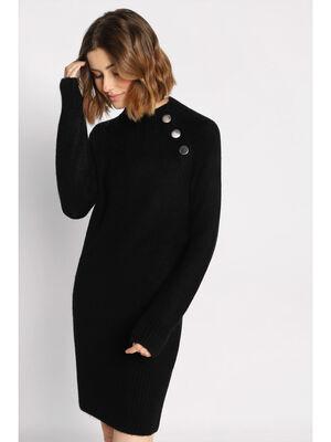 Robe cintree a boutons noir femme
