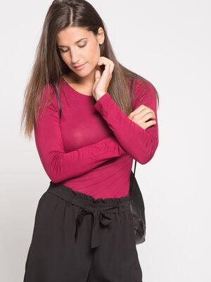 T shirt uni a manches longues bordeaux femme