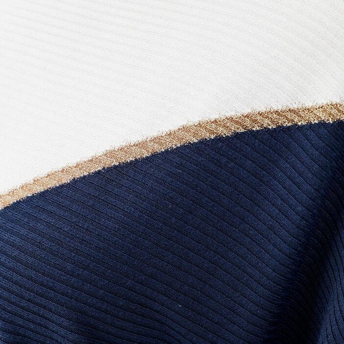 Pull manches 3/4 bleu marine femme