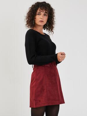 Pull manches longues dos zippe noir femme