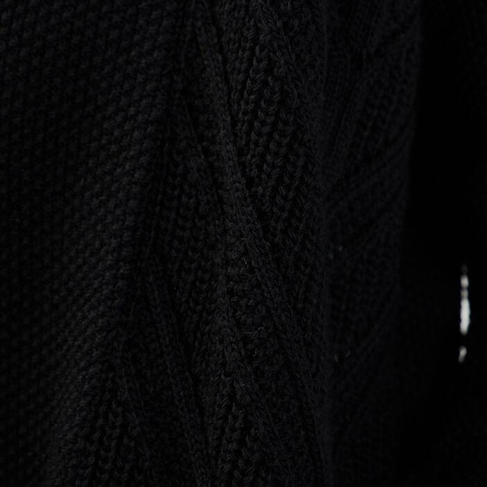 Gilet mi-long col châle noir femme