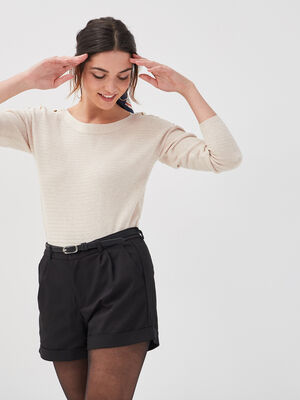 Pull boutons aux epaules sable femme