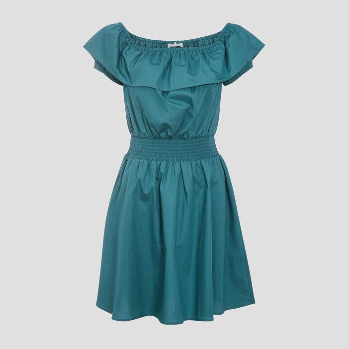 Robe évasée smockée vert clair femme