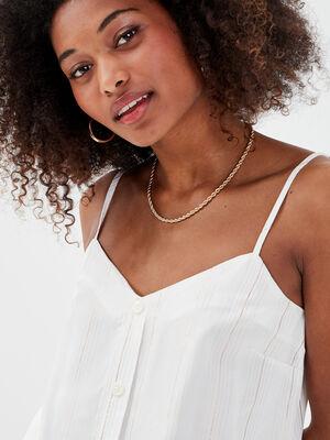 Blouse bretelles fines blanc femme