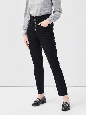 Jeans slim boutonne denim noir femme