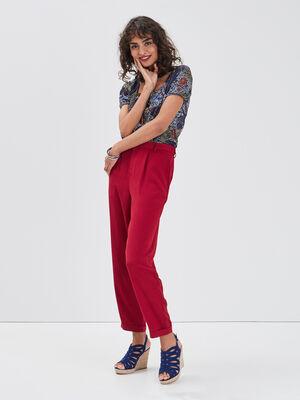 Pantalon chino fluide bordeaux femme