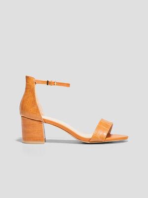 Sandales a talons texturees camel femme