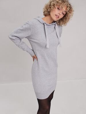 Robe pull droite a capuche gris clair femme