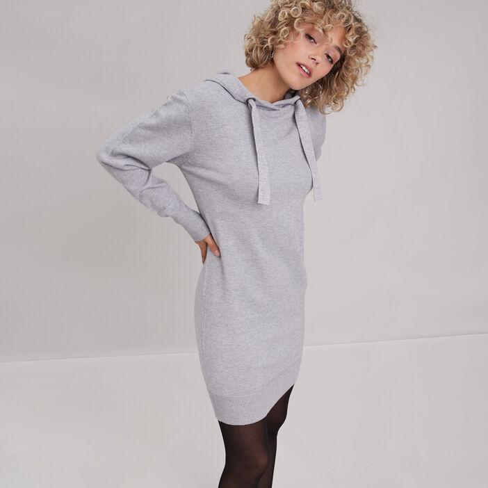 Robe pull droite à capuche gris clair femme