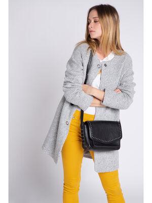 Manteau leger boutonne gris clair femme