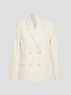 Veste blazer droite velours ecru femme