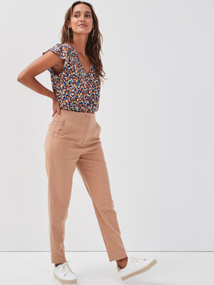 Pantalon droit beige femme