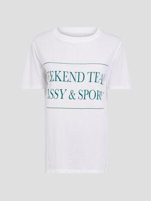 T shirt large a message ivoire femme