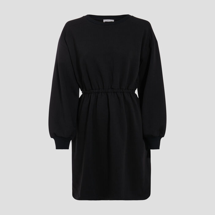 Robe droite taille élastiquée noir femme
